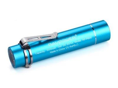 RAVPower 3000mAh モバイルバッテリー 超小型 スティックタイプ LEDライト付き 5V/1A RP-PB08 (ブルー)