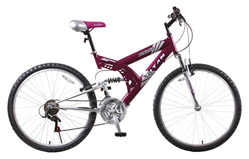 Titan Punisher 21-Speed Dual Suspension All Terrain Mountain Bike, Purple, 18-Inch Frame Height