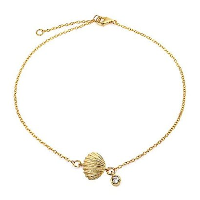 Bling-Jewelry-Gold-Plated-Silver-Clam-Shell-Seashell-CZ-Charm-Bracelet-7in