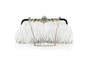 Bundle Monster Womens Vintage Satin Cocktail Party Handbag (Chain-White)