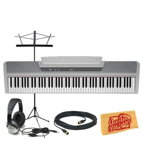 Korg SP170s 88-Key Digital Piano Bundle with Music Stand, 10-Foot MIDI Cable, Headphones, and Polishing Cloth - White