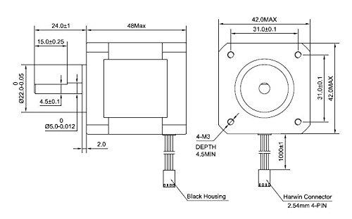Nema 17 Stepper Motor Bipolar 2A 59Ncm(84oz.in) 48mm Body