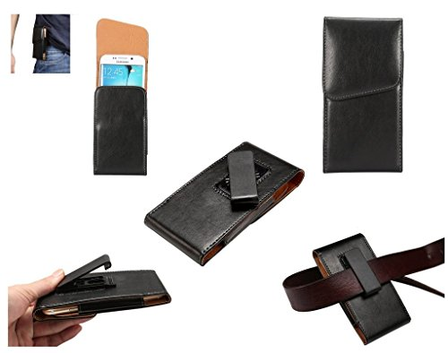 DFV mobile - 磁気革エグゼクティブのホルスター ケース ベルト クリップ回転 360 ° = Sony Xperia Z5-PREMIUM DUAL E6883  黒