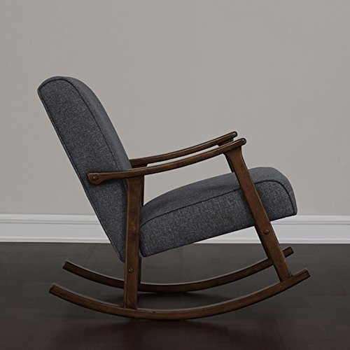 Granite Grey Fabric Retro Wooden Rocker Glider Chair