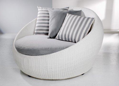 Loungesessel Sina medium, Outdoor Lounge aus hochwertigen Rehau Raucord Polyrattan, wind- und wetterfest, reinweiß inkl. Polster