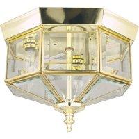 "10"" Octagon Light Fixture - Polished Brass - Flush Mount ..."