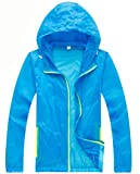 Z-SHOW Womens Super Lightweight Jacket Quick Dry Windproof Skin Coat-Sun Protection (Blue,2XL)