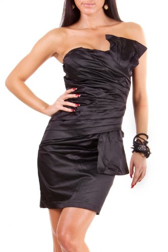 Sexy Damen Kleid Cocktail Abendkleid, Minikleid Partykleid Bandeaukleid Satinstoff
