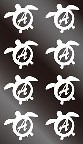 nc-smile イニシャル ハワイアン ホヌ 英字 アルファベット デコレーション シール ステッカー A ホワイト