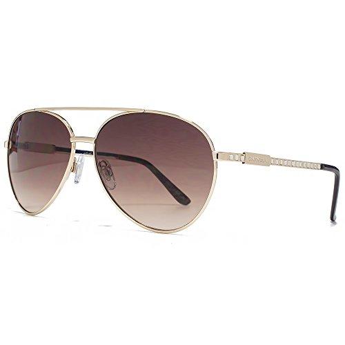 Carvela Diamante Tempel Aviator Sonnenbrille im glänzend hell Gold CAR019