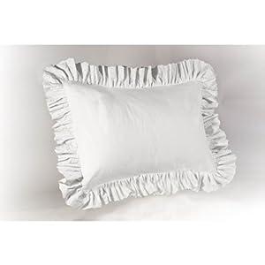 Amazoncom  White Eyelet Ruffled Pillow Sham Standard