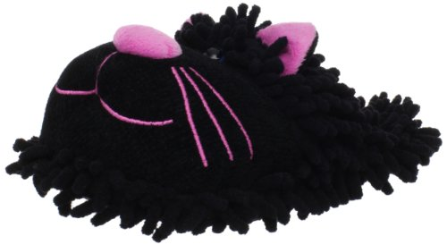 Fuzzy Friends Women's Cat Slipper,Black,One Size