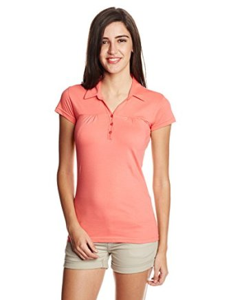 Sugr Women's Solid T-Shirt (266018911_Coral_Large)