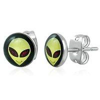 Stainless Steel Alien Face Stud Earrings. (Design Run 144)