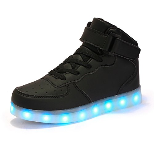 AFFINEST High Top USB Charging LED Shoes Flashing Fashion Sneakers for Kids Boots