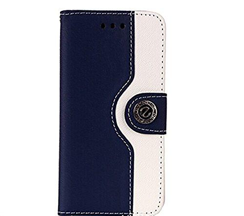 iPhone5s / iPhone5 専用 レザー 風 手帳型 ケース カード入れ 付き ストラップホール付 横開きスタンド スマホ カバー二つ折り iPhone5/5S ダークブルー