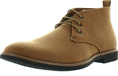 Arider COOPER-03 Men's High-Top Lace Up Chukka Ankle Booties Half Size Bigger, Color:CAMEL, Size:11