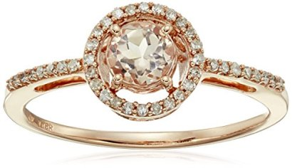 10k-Rose-Gold-Round-Morganite-and-Diamond-Halo-Ring-Size-6-110cttw-I-J-Color-I2-I3-Clarity
