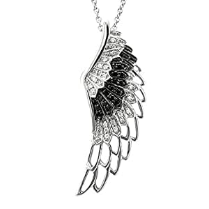 Amazon.com: Sterling Silver Angel Feather Wing BLACK and