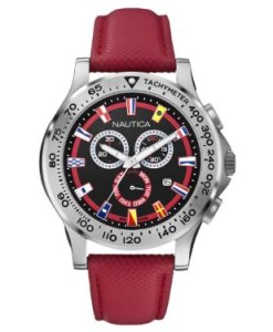 Nautica  - Reloj  de Cuarzo para Hombre, correa de Cuero color Rojo