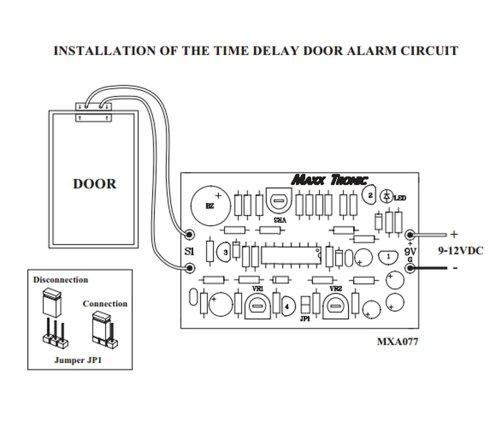 Door Alarm Time Delay 9-12 Vdc Electronic Circuit Kit