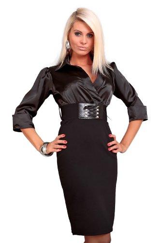 Astrapahl, Business Abendkleid,, lange Ärmel, mit Gürtel, Länge Knielang, Farbe schwarz, Gr.M