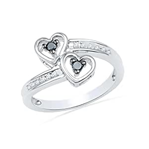 Amazon.com: Sterling Silver Round Diamond Black and White