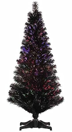 4' Pre-Lit Jet Black Fiber Optic Christmas Tree