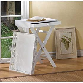 White Wood Distressed Chic French Cottage Shabby Table & Removeable Serving Tray