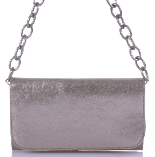 CNTMP City-Bag Metallic Leder Clutch Tasche Platin