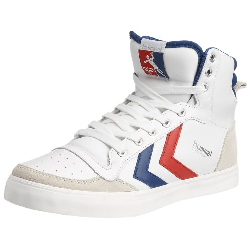 hummel STADIL HIGH 63-066-9228, Unisex - Erwachsene Sneaker, Weiss (WHITE/BRILLIANT BLUE/RED 9228), EU 43