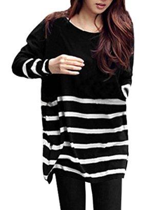 Allegra-K-Women-Stripes-Stretchy-Pullover-Spring-Tunic-Knit-Shirt-Black-White-XL