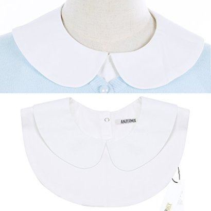 Anzermix-Peter-Pan-Detachable-Shirt-Dickey-Blouse-False-Collar-2-Colors-White-One-Size