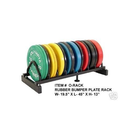 olympic Rubber Bumper Plate Black 5 Pair Set with Ader Plate Rack