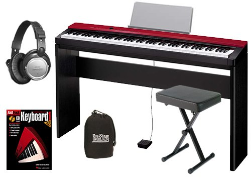 Casio PX-130 Red Digital Piano HOME BUNDLE w/ Furniture Stand & Bench