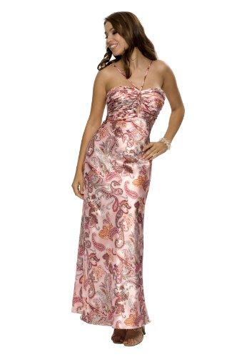 Astrapahl, Elegantes Satin Abendkleid, lang, Farbe lila Multidruck