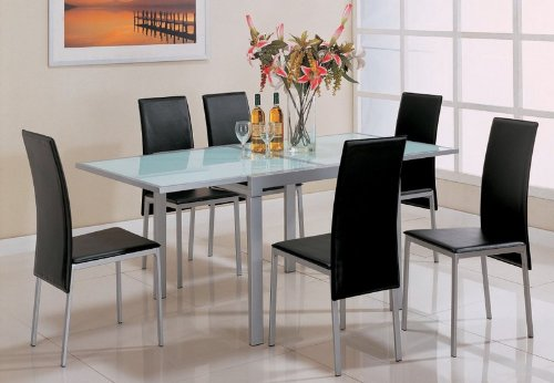silver metal dining chairs bean bag chair covers amazon coaster leather black bonded finish set of 4