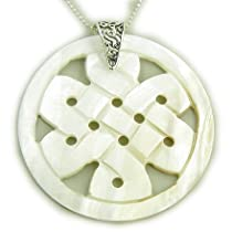 Magic Celtic Knot Circle Protection Amulet Silver Shell Necklace