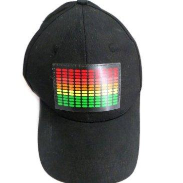 DJ LED Flashing Sound Activated Equalizer E-Q Rave Light Up Disco Hat Cap (One Size)
