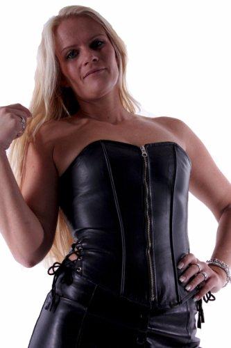 Leder Corsage Korsett Ledercorsage mit Seiten- + Rückenschnürung