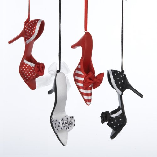 Polka Dot & Striped High Heel Ornaments