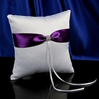 Topwedding White Satin Wedding Ring Pillow with Purple