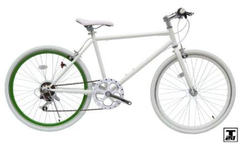 Crossbike[CL266](ホワイト グリーンリム) 26インチクロスバイク 6段変速