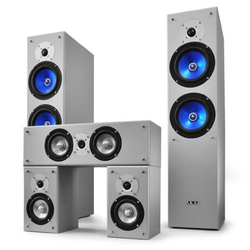 Akai 5-teiliges Heimkino-Lautsprecher Surround Set 790W (3-Wege Front Boxen, 2-Wege Center/Satelliten Boxen)
