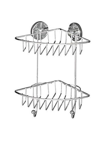 WENKO 20888100 Vacuum-Loc Eckregal Bari – Befestigen ohne bohren, Stahl, 22.5 x 29.5 x 16 cm, Chrom