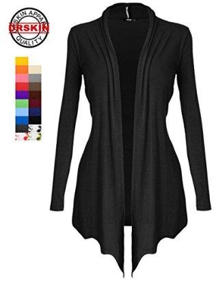 DRSKIN-Womens-Open-Front-Long-Sleeve-Knit-Cardigan-XL-Black