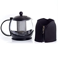 bobuCuisine Stunning Glass Tea Pot Globe with Cozy Warmer, 1200 Ml - Embellish Your Kitchen - No Spill - Large Enough for 4 to 5 Cups of Tea - Rust Free Mesh Infuser