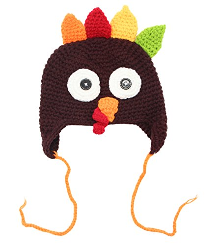COOLYES Baby & Toddlers Cute Cartoon Animal Winter Knit Beanie Hat With Ear Flap (Coffee Turkey)