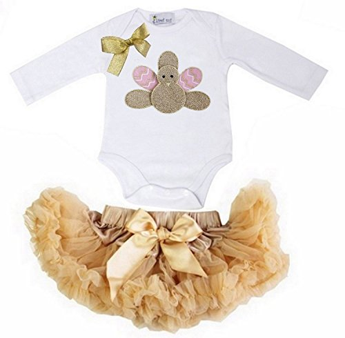 Kirei Sui Baby Gold Pink Turkey White Bodysuit Pettiskirt Set Small