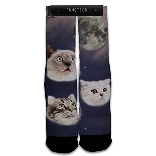 Function - Three Cats Meowing at Moon Sublimated Sock